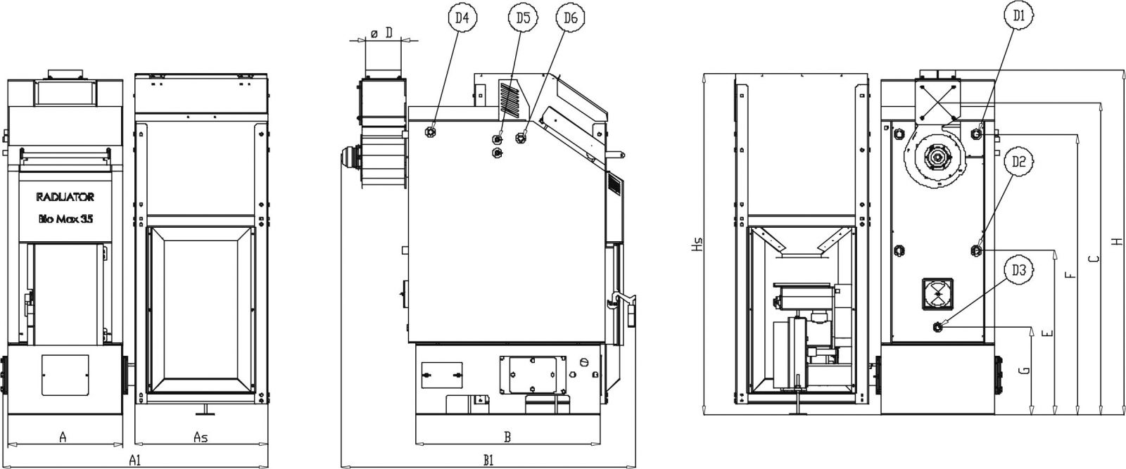 принципиальная схема и размеры biomax 23