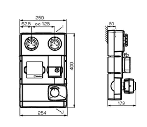 Размеры и схема насосной группы GRA100